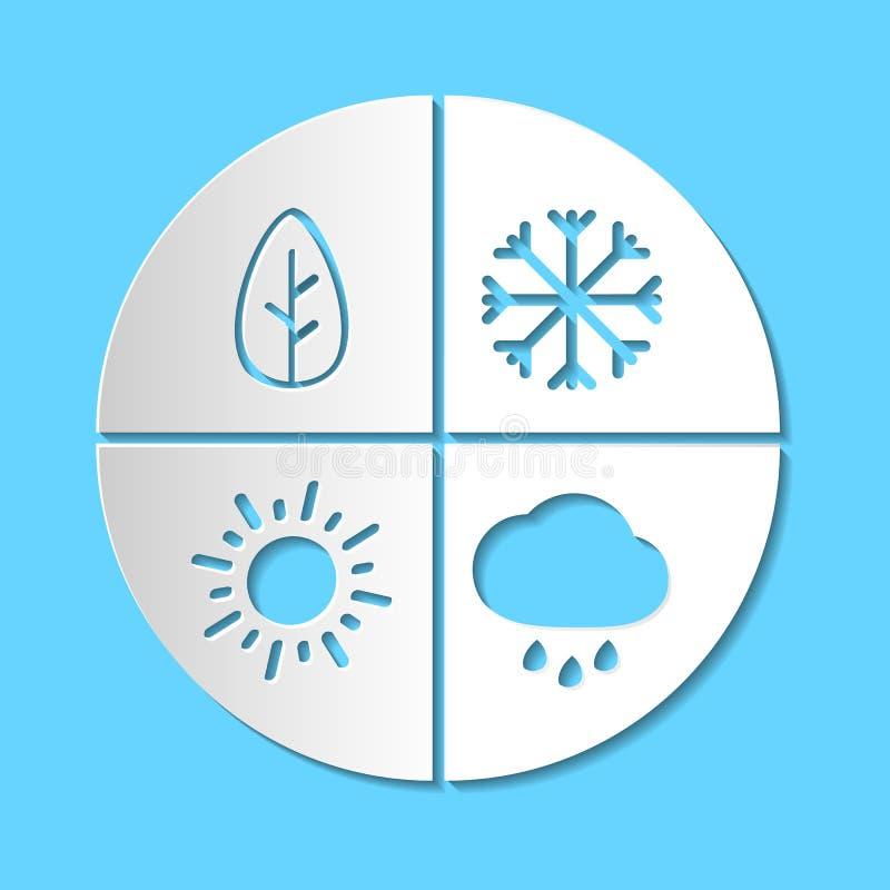 Graficzny prosty papierowy cięcie cztery sezonów znak Białego papieru sztuki vect ilustracji
