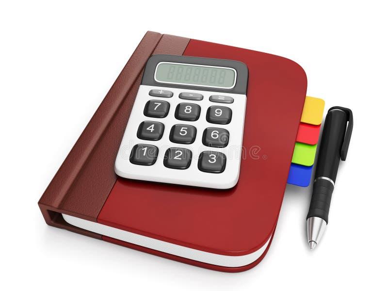 Graficzny przedstawicielstwo kalkulator i notepad ilustracji