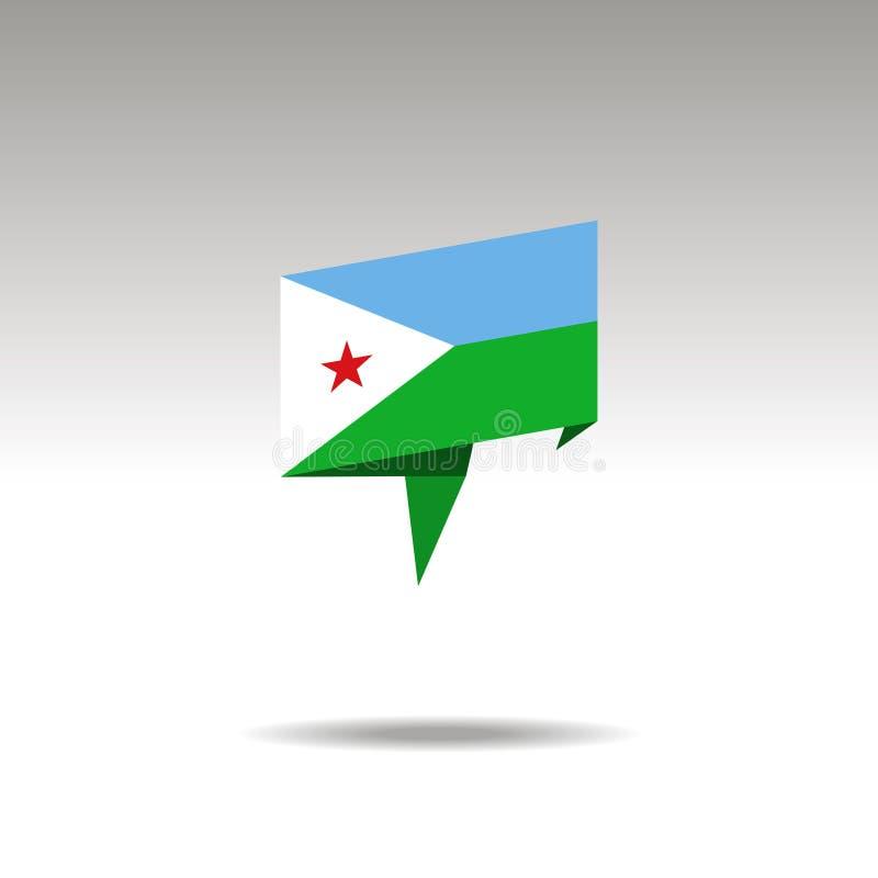 Graficzny przedstawicielstwo lokacja desygnat w origami stylu z chorągwianym DJIBOUTI na szarym tle ilustracji