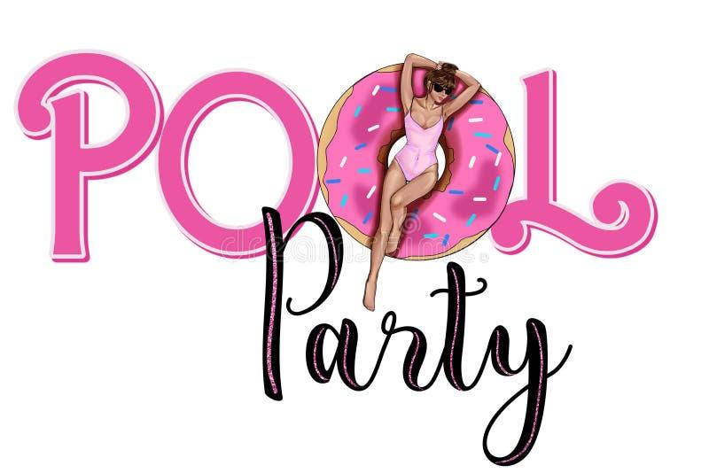 Graficzny tekst Partyjny zaproszenie - basenu przyjęcia tekst - zaproszenie karta - royalty ilustracja