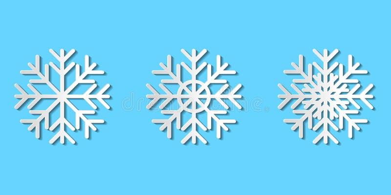 Graficzny wektorowy ustawiający papierów rżnięci płatki śniegu; białego papieru sztuki śnieg royalty ilustracja