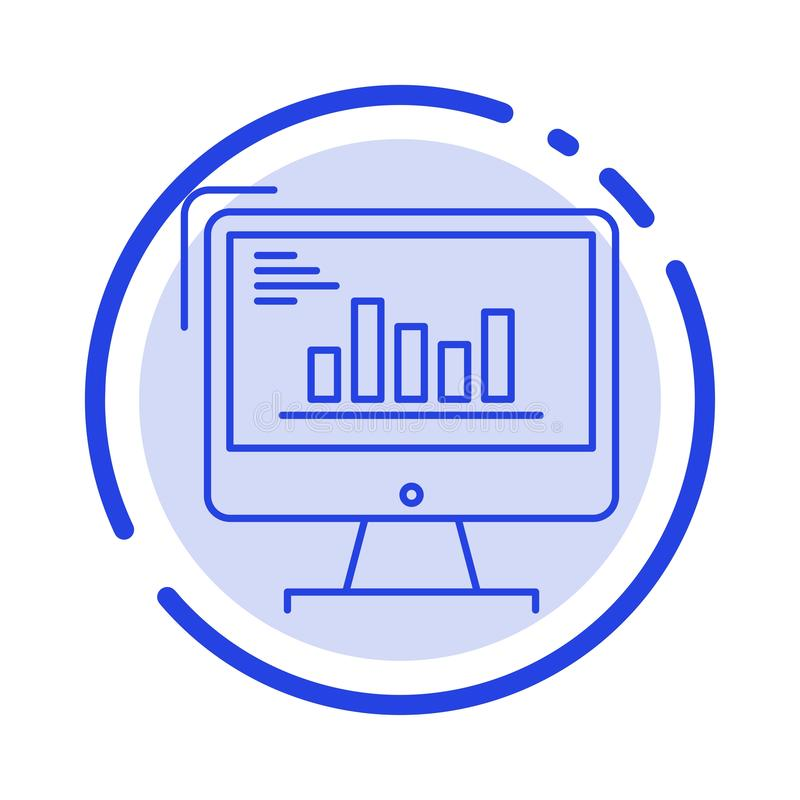 Grafiek, Analytics, Zaken, Computer, Diagram, Marketing, de Lijnpictogram van de Tendensen Blauw Gestippelde Lijn vector illustratie