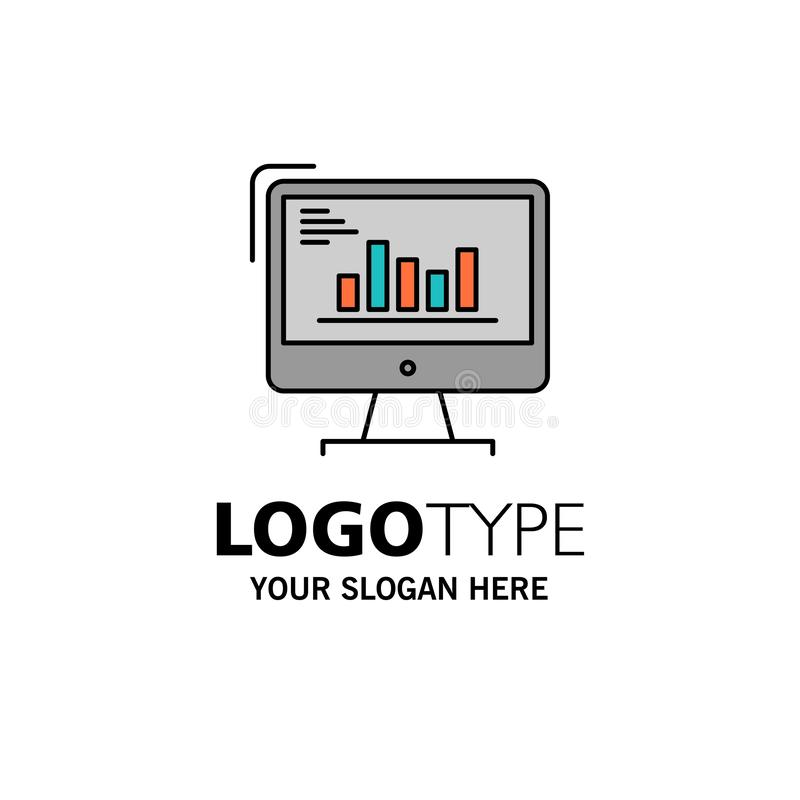 Grafiek, Analytics, Zaken, Computer, Diagram, Marketing, Tendensenzaken Logo Template vlakke kleur stock illustratie