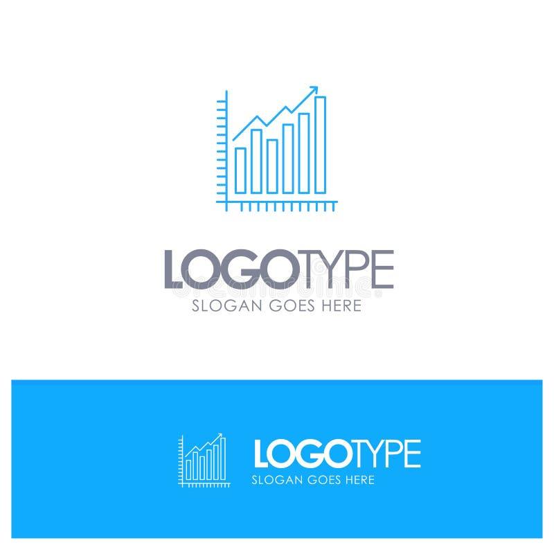 Grafiek, Analytics, Zaken, Diagram, Marketing, Statistieken, Embleem van het Tendensen het Blauwe overzicht met plaats voor tagli stock illustratie