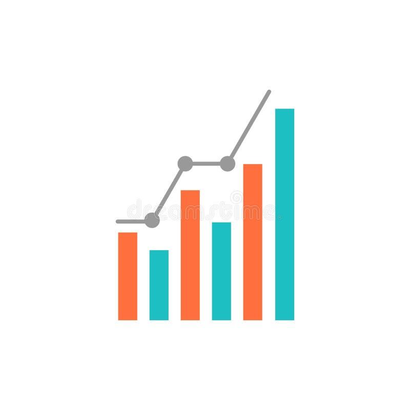 Grafiek, Analytics, Zaken, Diagram, Marketing, Statistieken, Pictogram van de Tendensen het Vlakke Kleur Het vectormalplaatje van stock illustratie