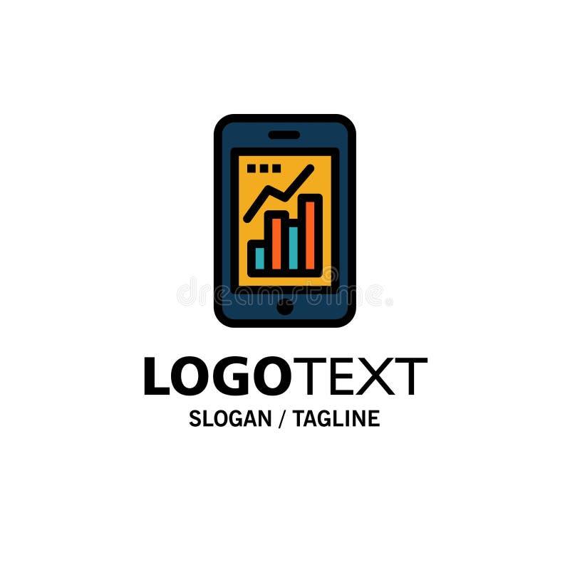 Grafiek, Analytics, Zaken Logo Template van de Informatie de grafische, Mobiele, Mobiele Grafiek vlakke kleur vector illustratie