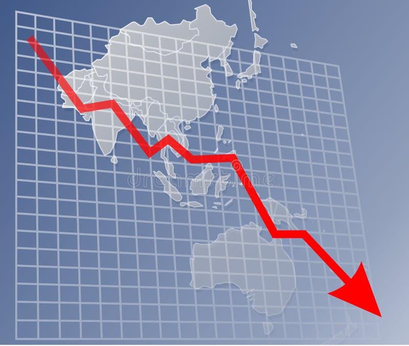 Grafiek Azië neer royalty-vrije illustratie