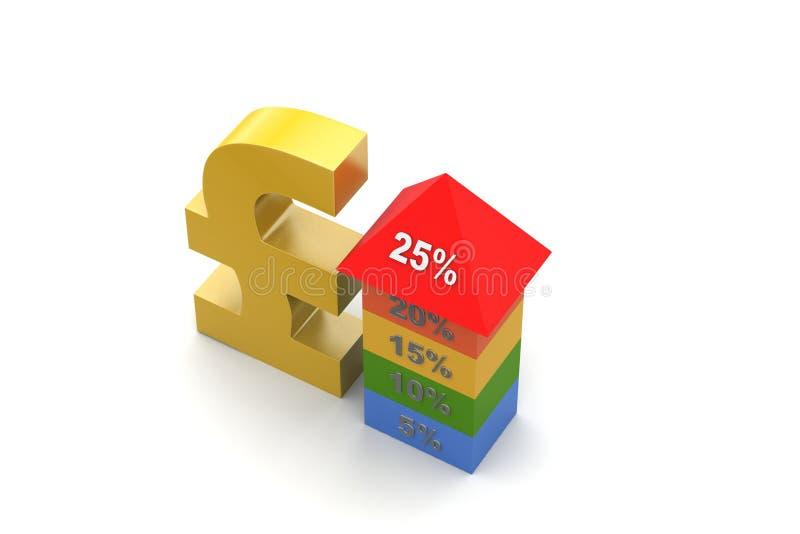 Grafiek die de groei met muntteken tonen stock illustratie
