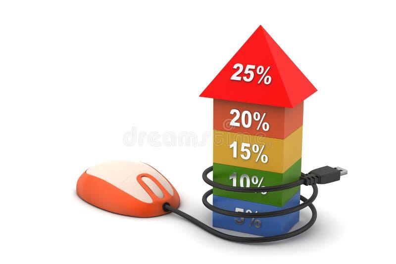 Grafiek die de groeipercentage tonen die aan muis verbinden vector illustratie