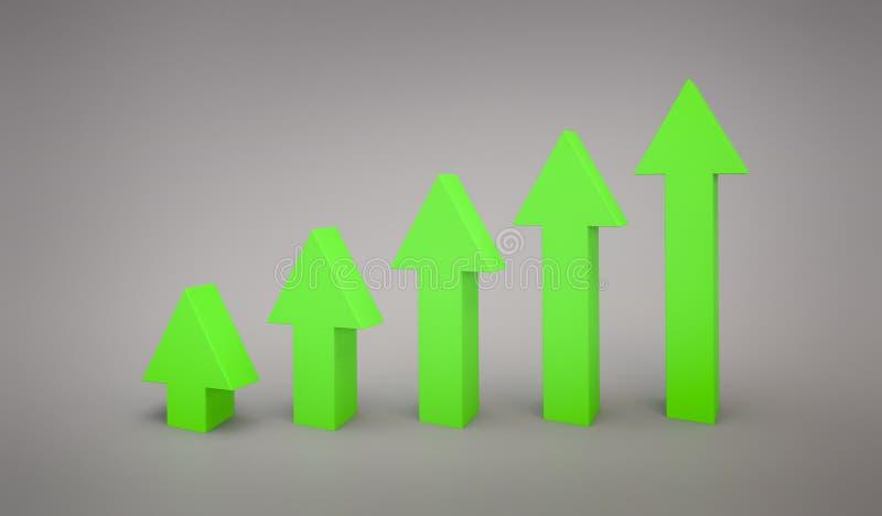 Grafiek die van de bedrijfs de Groene pijllijn het 3d teruggeven benadrukken vector illustratie