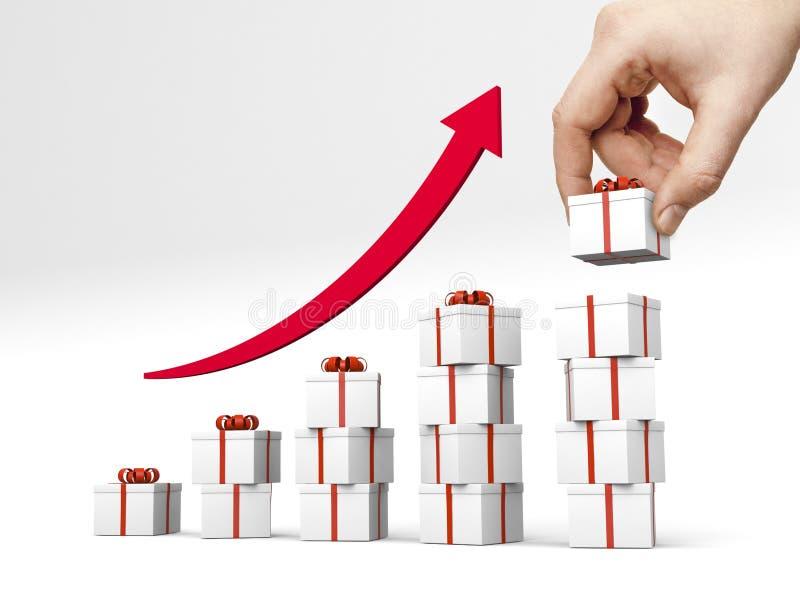 Grafiek die van giftboxes met rood lint wordt gemaakt vector illustratie