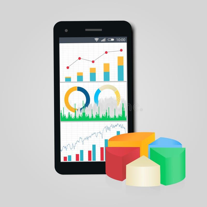 Grafiek en diagrammen Mobiele telefoon Concept zaken, financiën, rekenschap gevende statistiek vector illustratie