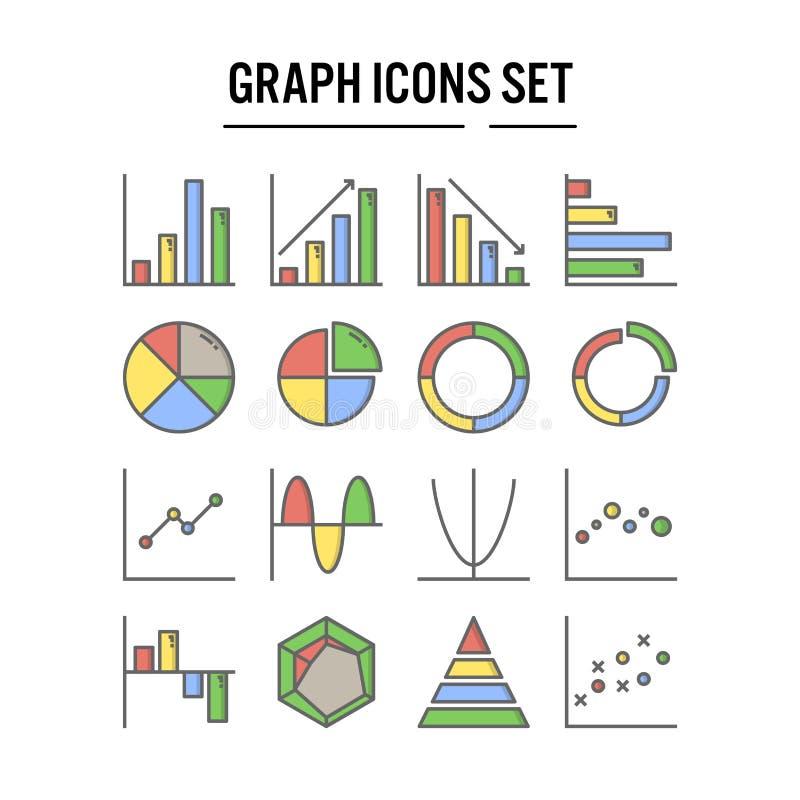 Grafiek en diagrampictogram in gevuld overzichtsontwerp voor infographic Webontwerp, presentatie, mobiele toepassing - Vector stock illustratie