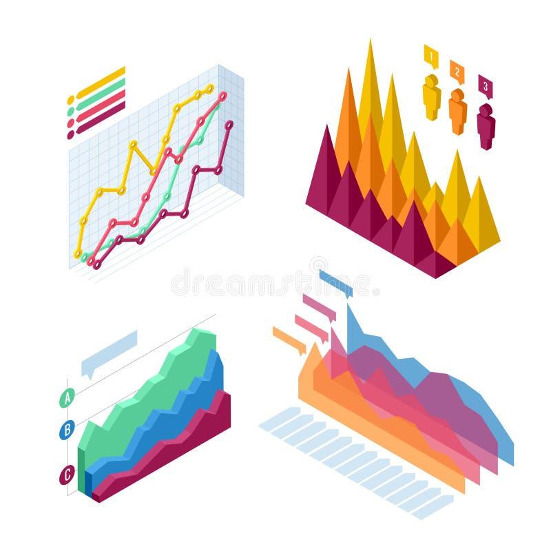 Grafiek en grafische isometrisch, de financiën van bedrijfsdiagramgegevens, grafiekrapport, de infographic statistiek van informa stock illustratie
