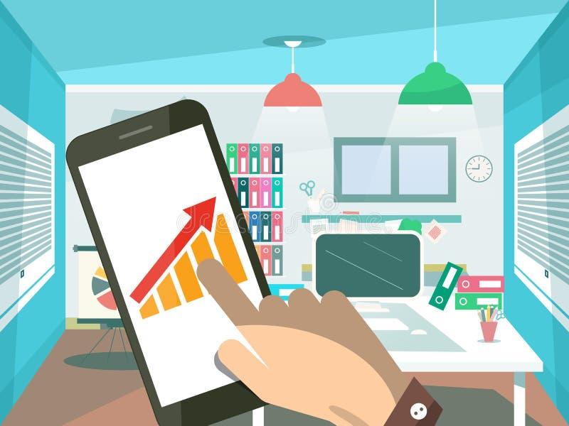 Grafiek en Pijl op het Mobiele Telefoonscherm royalty-vrije illustratie