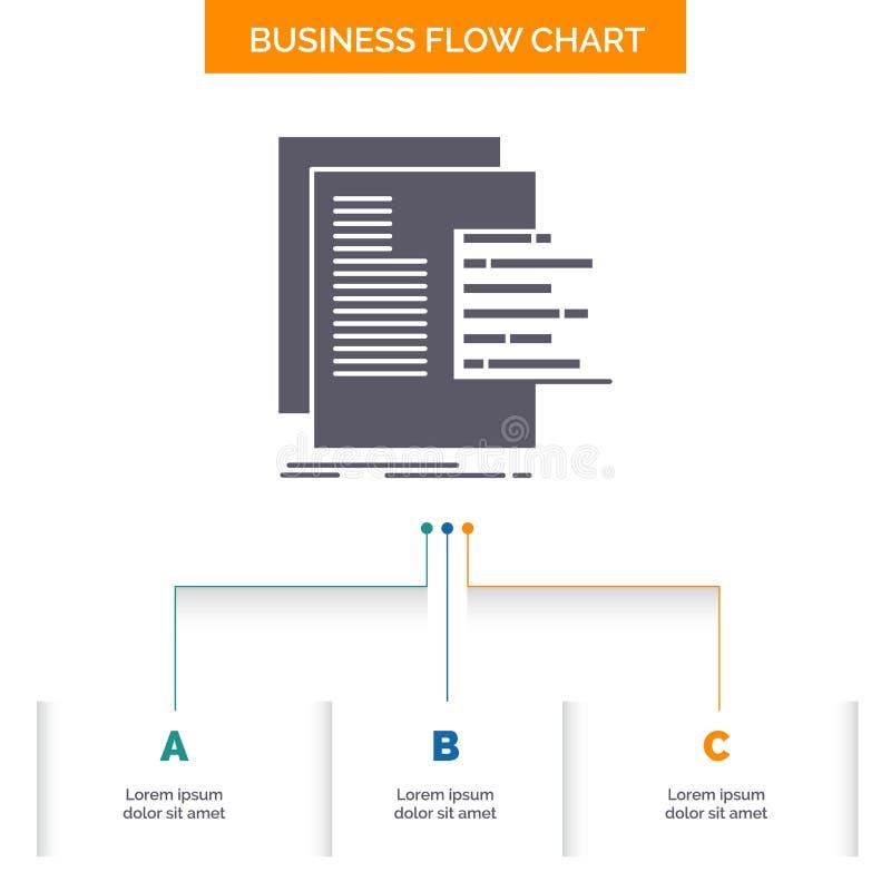 grafiek, gegevens, grafiek, rapporten, het Ontwerp waardevaststellings van de Bedrijfsstroomgrafiek met 3 Stappen Glyphpictogram  vector illustratie