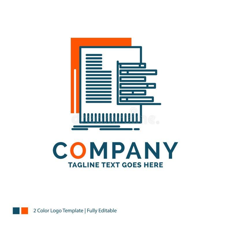 grafiek, gegevens, grafiek, rapporten, waardevaststelling Logo Design Blauw en Ora vector illustratie