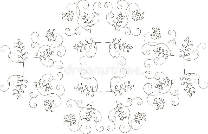 Grafiek, het bloemenornament van ontwerpelementen Dunne zwarte lijnen op een witte achtergrond royalty-vrije illustratie