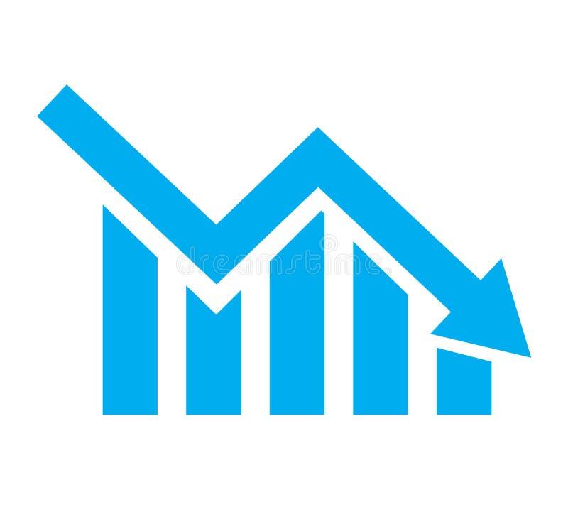 Grafiek met bars die op witte achtergrond dalen Het pictogram van de grafiek grafiekpictogram voor uw websiteontwerp, embleem, ap stock illustratie