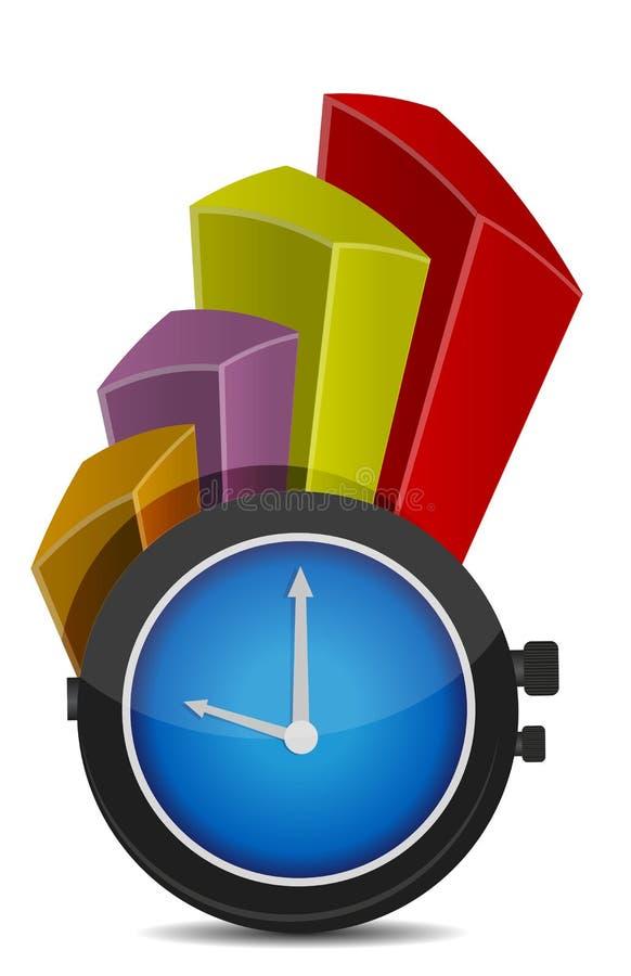 Grafiek met klok een bedrijfsconcept stock illustratie