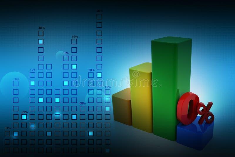 Grafiek met percentageteken vector illustratie