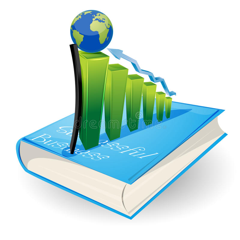 Grafiek op boek stock illustratie