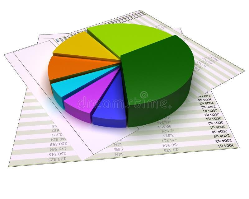 Grafiek op financiële dossiers en geïsoleerd op wit stock illustratie