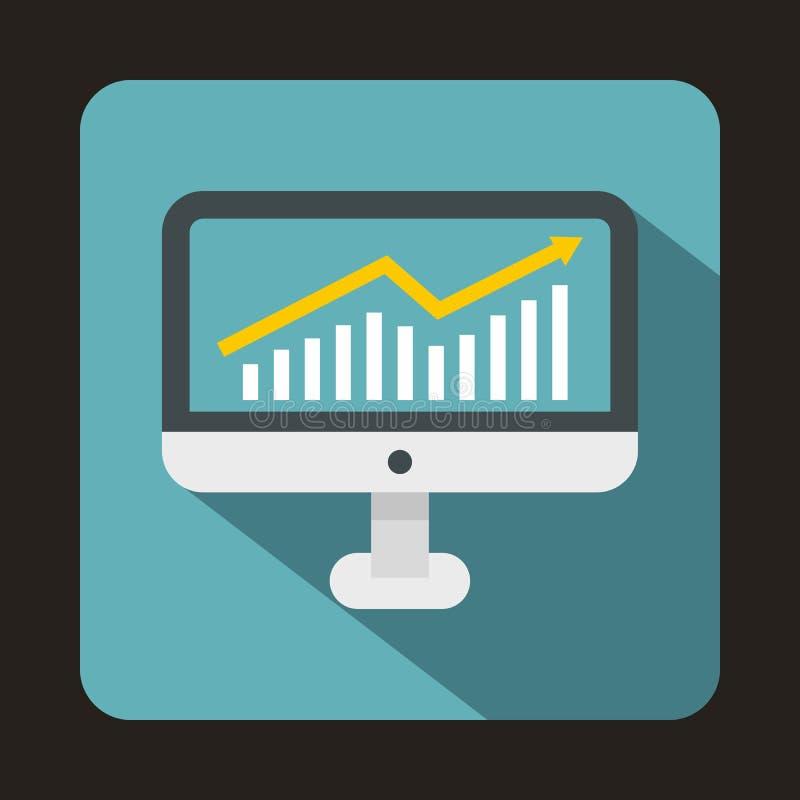 Grafiek op het pictogram van het computerscherm, vlakke stijl stock illustratie