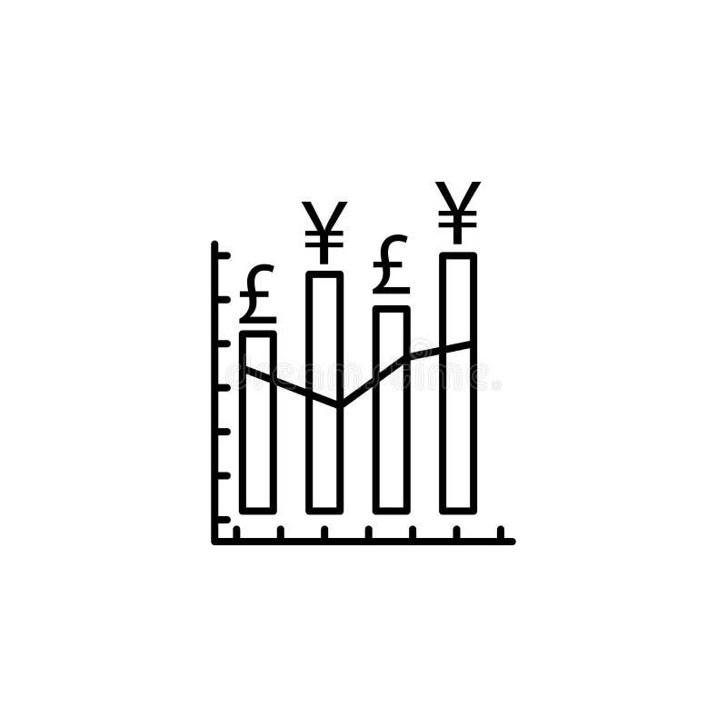 Grafiek, grafiek, pond, yuanspictogram Element van financiënillustratie Tekens en symbolen het pictogram kan voor Web, embleem, m stock illustratie