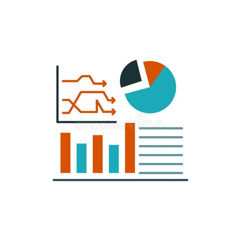 Grafiek, Succes, Stroomschema, Bedrijfs Vlak Kleurenpictogram Het vectormalplaatje van de pictogrambanner royalty-vrije illustratie