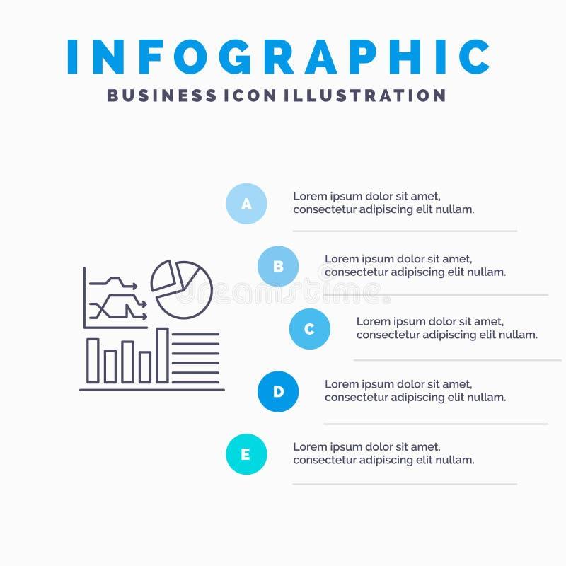 Grafiek, Succes, Stroomschema, Bedrijfslijnpictogram met infographicsachtergrond van de 5 stappenpresentatie royalty-vrije illustratie