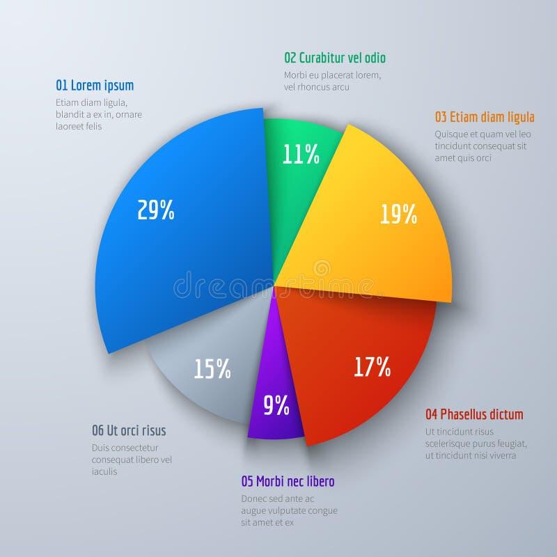 Grafiek van de bedrijfs 3d pasteiinformatie voor presentatie en het bureauwerk Infographic vectorelement royalty-vrije illustratie