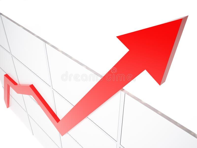 Grafiek van de groei van de zaken royalty-vrije illustratie