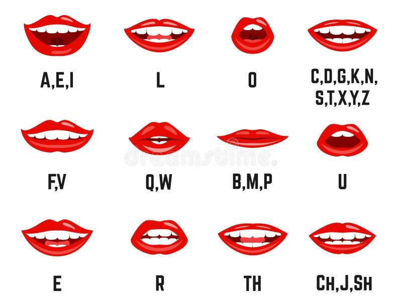 Grafiek van de lippen de correcte uitspraak vector illustratie