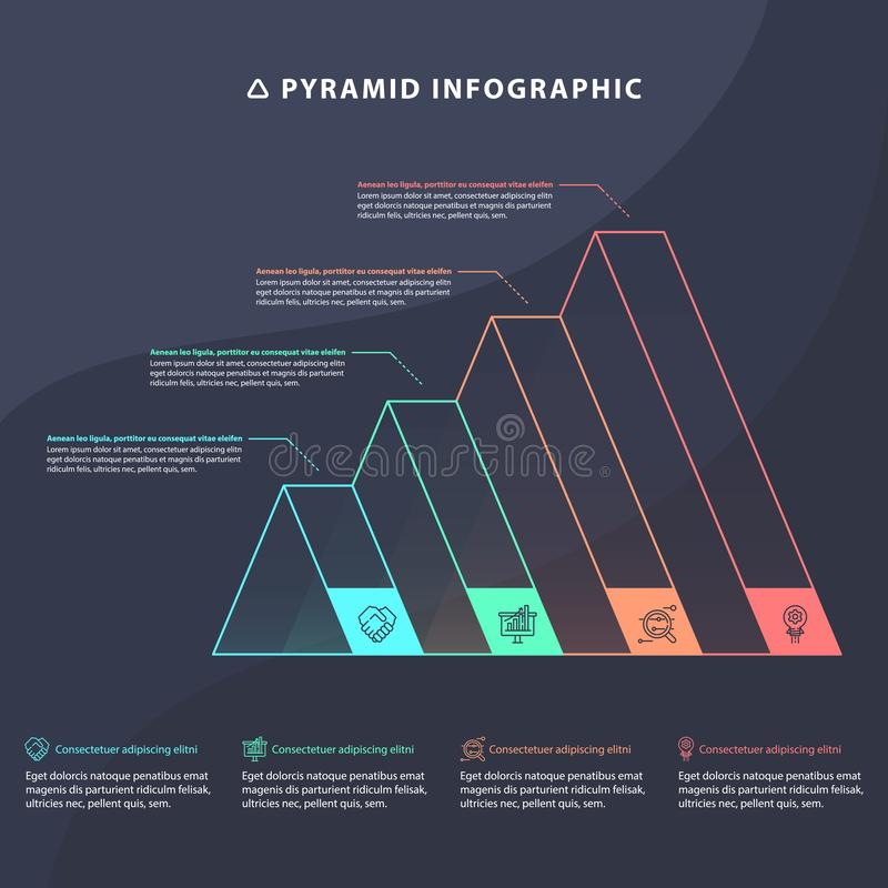 Grafiek van de piramide 3D informatie grafisch voor bedrijfsontwerp royalty-vrije illustratie