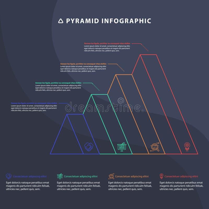 Grafiek van de piramide 3D informatie grafisch voor bedrijfsontwerp vector illustratie