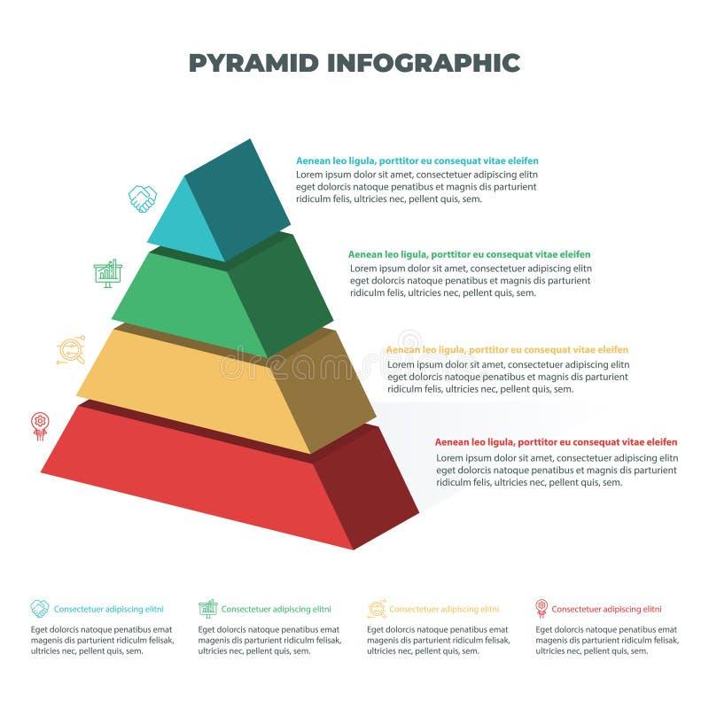 Grafiek van de piramide 3D informatie grafisch voor bedrijfsontwerp stock illustratie