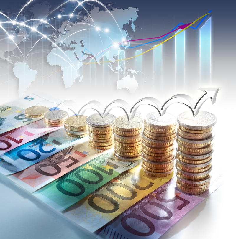 Grafiek van euro munt - concept verhoging stock foto's