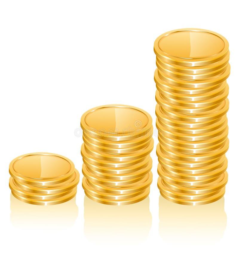 Grafiek van gouden muntstukken stock illustratie