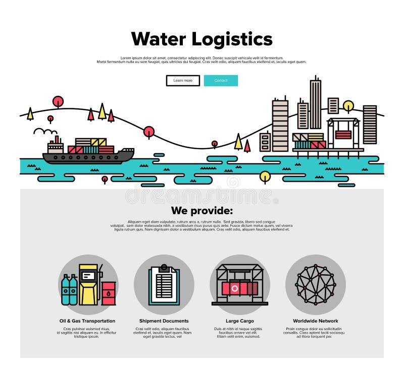 Grafiek van het de lijnweb van de waterlogistiek de vlakke stock illustratie