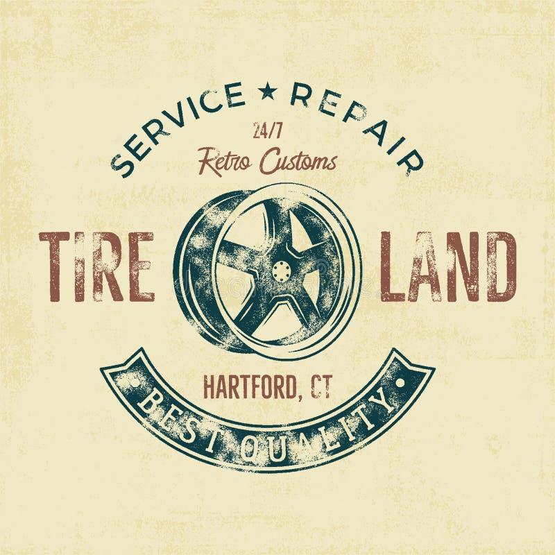 Grafiek van het het T-stukontwerp van de garagedienst de uitstekende, Bandland, de typografiedruk van de reparatiedienst T-shirtz vector illustratie