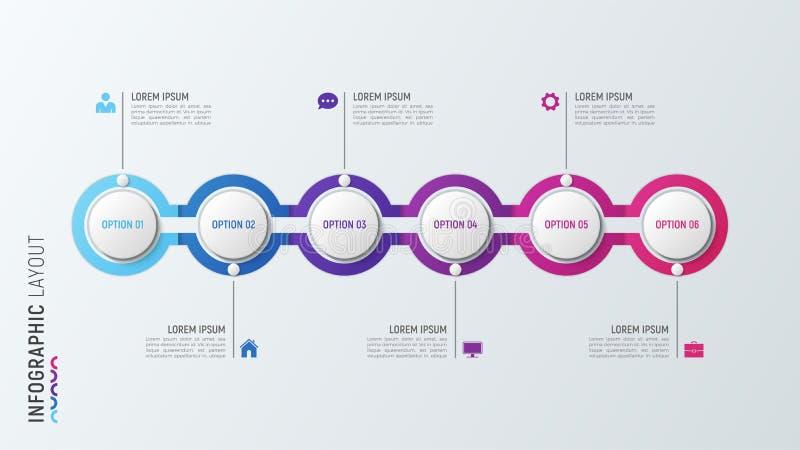 Grafiek van het zes stappen de infographic proces 6 opties vectormalplaatje vector illustratie