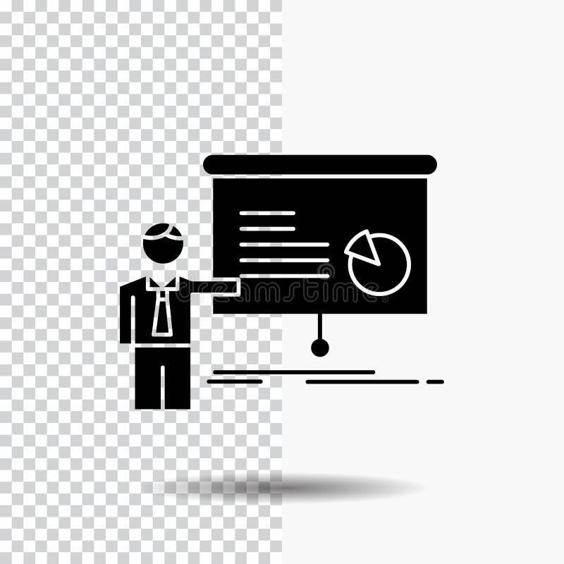 grafiek, vergadering, presentatie, rapport, het Pictogram van seminarieglyph op Transparante Achtergrond Zwart pictogram vector illustratie