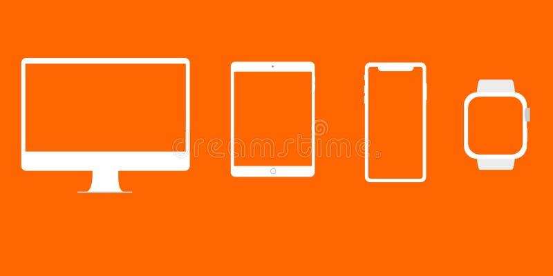Grafiek voor App Compatibele Apparaten Oranje Modellen als achtergrond royalty-vrije illustratie