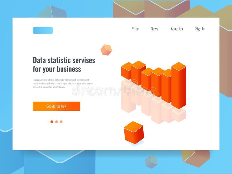 Grafiekbanner, statistiek en plannend concept, bedrijfsanalytics isometrische vector royalty-vrije illustratie