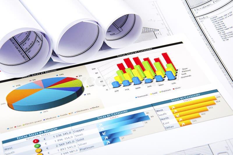Grafieken, documenten, blauwdruk stock afbeelding
