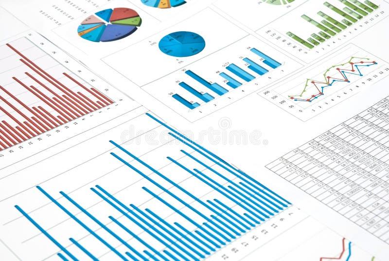 Grafieken en diagrammen stock foto's