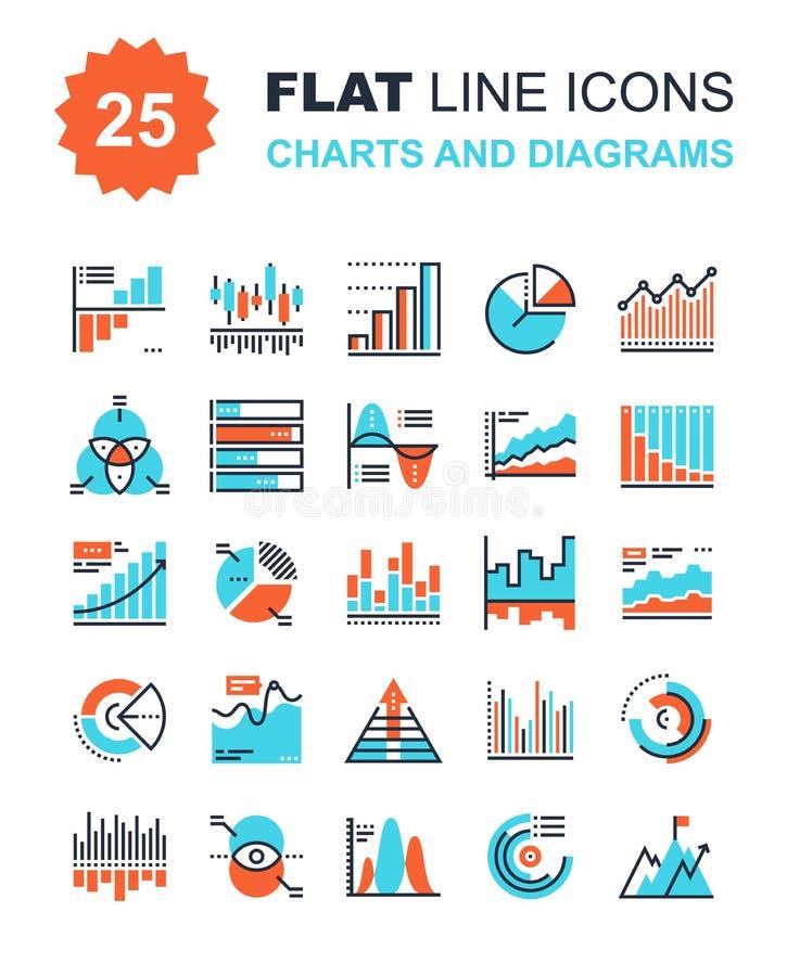 Grafieken en diagrammen royalty-vrije illustratie
