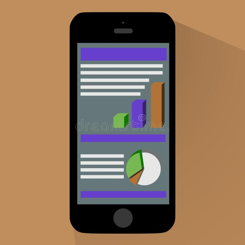 Grafieken en Diagrammen op Smartphone stock afbeeldingen
