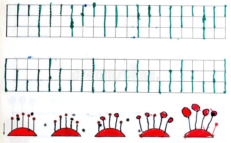 Grafieken in kind` s notitieboekje royalty-vrije illustratie